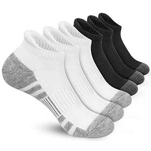 Felicigeely Ankle Athletic Running Socks Low Cut Sports Socks Breathable Cushioned Tab Socks for Men Women 6 Pairs