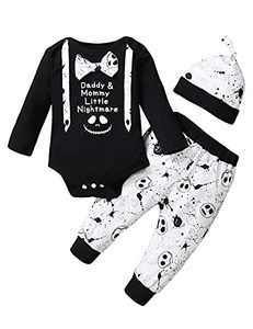 Baby Boy Halloween Outfit Baby Nightmare Before Christmas Clothes (Black,3-6 Months)