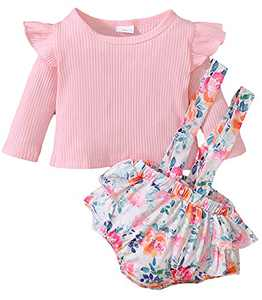 Newborn Clothes Sets Ruffle Sleeve Top Floral Suspender Shorts for Fall Pink 3M