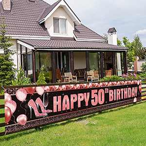 Happy 50th Birthday Banner Decorations - Extra Large Rose Gold 50th Birthday Party Sign - 50th Birthday High Heels Decorations Supplies for Women - 50 Years Old Birthday Photo Booth Backdrop 9.8x1.6ft
