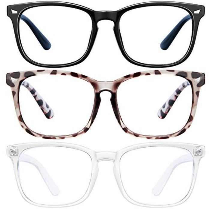 LNEKEI Blue Light Blocking Glasses - 3 Pack Blue Light Glasses Computer Gaming Glasses & Fashion Lightweight Frame Non-Prescription Lens & Anti Eye Strain Headache for Women and Men