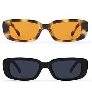 KUGUAOK RetroRectangle Sunglasses Women and Men Vintage Small Square Sun Glasses UV Protection Glasse