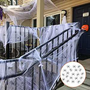 AJDSK 1400 Sqft Halloween Spider Web with 200 Fake Spiders Decorations, Large Outdoor Cotton Super Stretch Cobweb Decoration, Indoor and Outdoor Decor for Yard Home Costumes Parties Haunted House