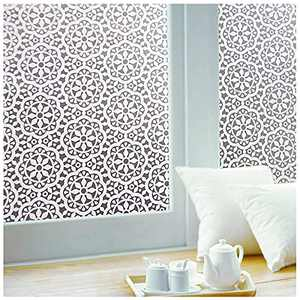 Privacy Window-Film Non Adhesive Glass Window-Sticker Paper Static Cling Decorative Snowflake Pattern Flower Decal Panel 11.8 x 39.3 Inches