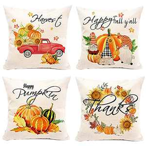 pinata Fall Pillow Covers 18x18, Orange Pumpkins Farmhouse Throw Pillow Covers Set of 4, Autumn Harvest Thanks Outdoor Pillow Case, Linen Pillow Cover Gnomes Red Truck Sunflower Wreath Couch Decor