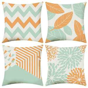 UINI Modern Throw Pillow Covers, Set of 4 Orange and Mint Green Decorative Pillow Covers 18x18 Inch, Geometric Square Pillowcase Cotton Linen Cushion Covers for Outdoor Sofa, Bed, Living Room