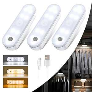 20-LED Under Cabinet Lights Wireless LED Closet Lights Battery Operated, Motion Sensor Cabinet Lights 3 Color Dimmable Under Counter Lighting for Kitchen, Stairs, Wardrobe (3 Pack)