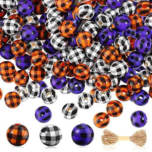200 Pieces Halloween Christmas Wood Beads Buffalo Plaid Wood Bead Rustic Farmhouse Craft Bead Round Polished Spacer Bead with Rope for Garland Decor DIY Craft (Orange-Black, Purple-Black, Black-White)