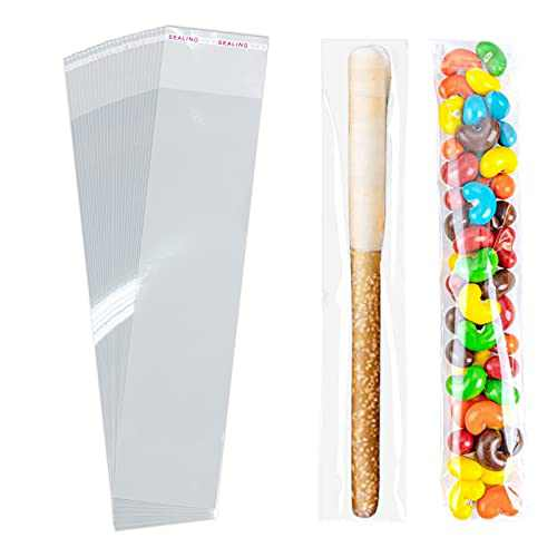 Cellophane Bags,Cello Bag,Self Sealing Treat Bags,Self Adhesive Sealing Clear Plastic Bags,Resealable Cellophane bag For Candy,Cookies,Bakery,Candle,Jewelry,Snack,Earrings 2 x 8 Inch (100 Pcs)
