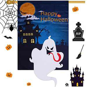 wartleves Happy Halloween House Flag 28 x 40 Inch Double Sized Vertical Ghost House Flag Holiday Yard Outdoor Decoration Spooky Night Large Garden Flag