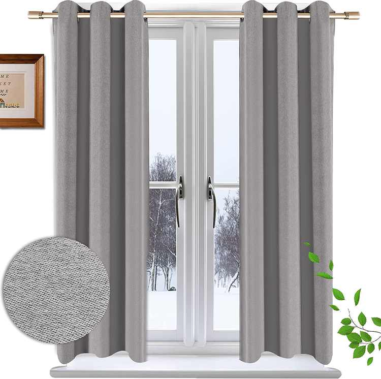 Krismile dark grey Bedroom Blackout Curtains, Eyelet Ring Top Thermal Insulated Soft Short Living Room Darkening Curtain Drapes 2 Panels (W46X54 Inch)