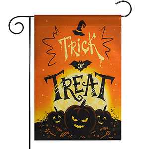 Yicostar Halloween Garden Flag Double Sided 12 x 18 inch Trick or Treat Vertical Burlap Yard Flags, Fall Pumpkin Castle Bat Small Halloween Flag Banner Decorations for Outdoor