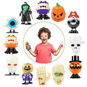Dongzhur 12Pcs Halloween Wind Up Toys Assorted Clockwork Toys Halloween Toys Gifts For Kids Children Halloween Pimpkin Skull Walking Toys With Luminous Effect