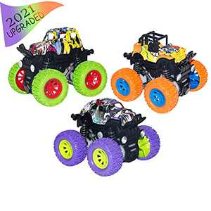 afontoto 3PCS Monster Trucks Toys for Boys and Girls, Graffiti Design Inertia Car Educational Toy Cars, Friction Powered Vehicles Toys for Children Birthday Christmas Toys Gifts