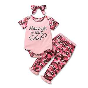 Newborn Baby Girl Clothes Infant Outfits Long Sleeve Romper Tops Ruffle Pants Set Cute Toddler Girl Baby Clothes (Pink, 6-12 Months)