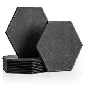"""LINKCHANCE Hexagon Acoustic Panels 12 Packs, Sound Absorbing Wall Panels, Noise Dampening Acoustic Treatment for Recording Studio, Office, Home Theater, DIY Acoustic Panels Soundproof 14 X 13 X 0.4"""""""