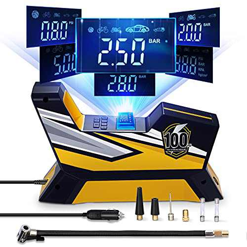 Tire Inflator Portable Air Compressor, Bike Tire Pump, DC 12V Auto Vehicle Electric Air Pump for Car Tires and Bicycles with LED Light, Digital Tire Pressure Gauge 150PSI