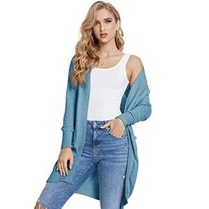 Ladies Cardigan Long Sweater V-Neck Sweater Casual Knitted Jacket Spring And Autumn Retro Long Knitted Jacket Tops Women's Cardigan Slim-Fit Knit Long Sleeves With Pockets
