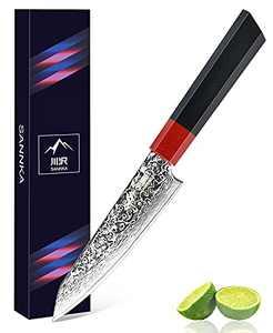 SANNKA Utility Paring Knife 5 inch Damascus Chefs Knife Utility Kitchen Knife Japanese Damascus VG10 Steel Knife Kitchen Utility Knife High Carbon 67-Layer Gyuto Chef Knife Fruit Knife - Gift Box