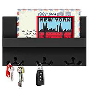 Key Hanger for Wall with Shelf, Decorative Key and Mail Holder with 6 Key Hooks, Mail Holder for Wall with Key Hooks, Acrylic Key Holder for Wall with Shelf, Black Key Organizer for Wall(with Glue)
