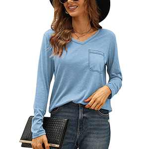 ASTANFY Womens V Neck Long Sleeve Blouse Casual Loose Tunic Top Fall with Pockets Light Blue