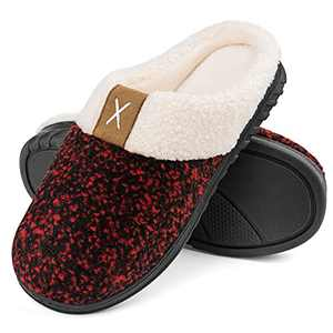 Women's Cute Comfy Fuzzy Quilted Memory Foam Slip On House Slippers Indoor