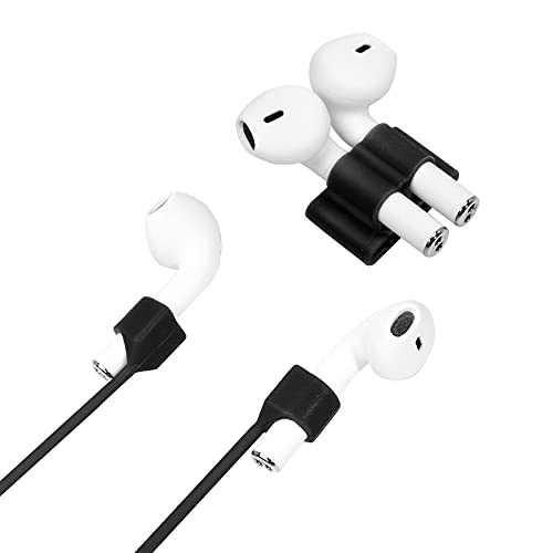 Biesebts Magnetic Super Anti-Lost Sports Wireless Bluetooth headsetSilicone Rope+Sports Watch Band Holder Wireless Bluetooth Universal Accessory (Black)