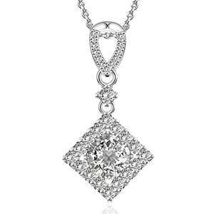 Wowen gemstone pendant necklace 1.5 carat 18K white gold plated sterling silver ideal cut diamond necklace Dancing Diamond CZ & Swarovski Cendant