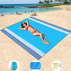 """Sand Free Beach Blanket Oversized 82"""" X79"""" Sand Proof Beach Blanket Outdoor Picnic Mat for Travel, Camping, Hiking and Music Festivals-Lightweight Quick Drying Heat Resistant"""