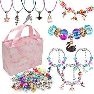 Charm Bracelet Making Kit, Charm Jewelry Making Kit for Teen Girls, DIY Kit for Adults Kids Women, Bracelet Making Supplies Beads Craft Gift Necklace Making Set (110 Pcs)