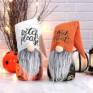 GMOEGEFT Set of 2 Halloween Gnome Plush, Witch Please & Trick Or Treat Pattern Swedish Tomte Scandinavian Witch Gnome Elf Nisse Halloween Decoration Gift