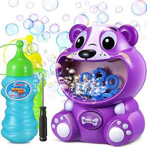 iBaseToy Bubble Machine - Automatic Bubble Maker with 8 Bubble Wands for Boys Girls Baby Bath Toys Outdoor Party Play - Bubble Machine for Kids Toddlers