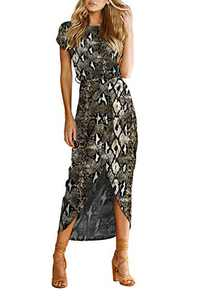 Aujelly Women's Casual Short Sleeve Slit Solid Party Summer Long Maxi Dress Snake Print M