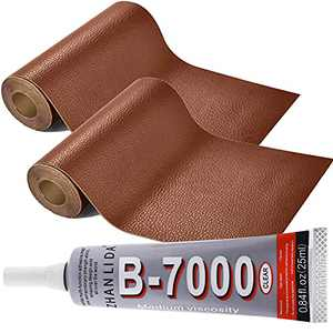 SEVENWELL Leather Repair Tape Self-Adhesive Patch Kit 3.9 X 54 Inch and B-7000 Paste Adhesive 0.9 oz for Sofas Car Seats, Chairs, Handbags, Jackets, First Aid Patch (Light Brown)