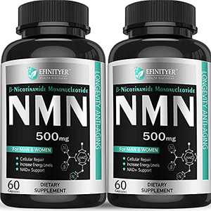Pack of 2,NMN Supplement, 500mg Nicotinamide Mononucleotide Per Serving Powerful NAD+ Precursor Naturally Boost NAD+ Levels Supplement for Anti-Aging Energy Metabolism Vegan Friendly 60 Capsules