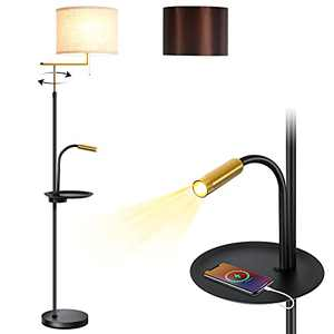 SHELIVE Floor Lamp for Living Room with Beige and Brown Linen Lamp Shade Modern Standing Lamp Floor Lamps for Bedrooms with Tray and USB Port for Mid Century, Modern,Contemporary Rooms