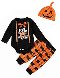 Dramiposs Baby Boy Halloween Outfit Baby Pumpkin Clothes (Black,6-12 Months)