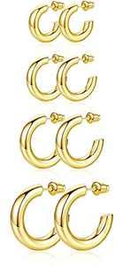 4 Pairs Hoop Earrings for Women, 14K Gold Chunky Open Hoops Thick Earrings Sets Jewelry Girls 20/30/40/50mm