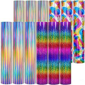"""Heat Transfer Vinyl for Cricut Iron On, 14 Sheets(10""""x12"""") for HTV, Rainbow Vynil Bundle, Pattern Accessories for T Shirts, Holographic Color Changing Glitter, Easy Press Easyweed Supplies"""