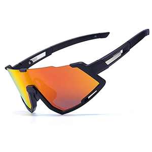 Polarized Cycling Sunglasses For Men & Women UV400 Protection With TR90 Frame and 3 Interchangable Lens (Orange Red)