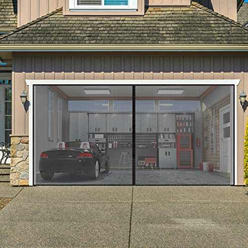 AURELIO TECH Magnetic Garage Door Screen for 2 Car, 16x7 ft Self Sealing Double Door Mesh Net Screen with Hook and Loop Tape, Hands Free, Pet & Kid Friendly, Easy to Install