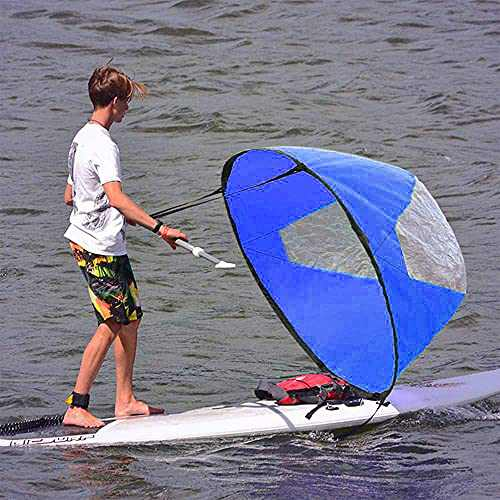 "Large 46"" Kayak Downwind Sail, Inflatable Kayak/Boat Tandem Kayak Paddle Kayak Accessories,Instant Popup Kayak Sail with Kayak Downwind Wind Sail Clear Window and Storage Bag,Compact & Portable"