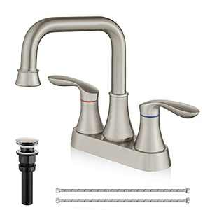 Airuida Brushed Nickel 4 Inch Centerset Bathroom Sink Faucet Deck Mount 2 Handle Lead-Free cUPC Water Supply Hoses Modern Commercial with Pop Up Drain,360 Swivel Spout