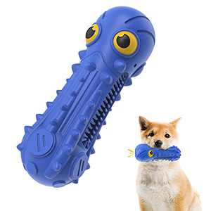 Dog Chew Toys for Aggressive Chewers Large Breed Medium Small,Squeaky Tough Natural Rubber Dog Toy with SqueakerDurable Chew Toy, Teeth Cleaning (Blue)
