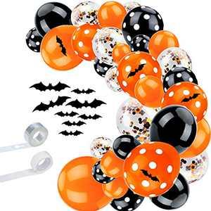 lzndeal Halloween Balloons Garland Arch Kit - 113PCS Halloween Party Balloons Decor Supplies Orange Black Confetti Latex Balloon Set with 3D Bat Wall Decorations
