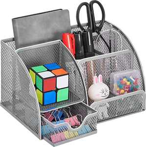 Coavas Desk Organizer Desktop Office Supplies Organizer With 6 Compartments , Space Saving Mesh Desk Organizer With Pencil Holder And Storage Box With Drawer for Desktop Accessories, silver