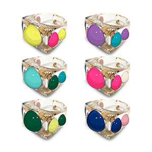iYuePeng Resin Rings Acrylic Rings for Women Funky Trendy Chunky Rings y2k for Girls Aesthetic Plastic Pastel Rings for Teens Colorful Rings for Summer