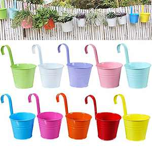 VEOLEY Hanging Planters 10Pcs Hanging Flower Pots Metal Bucket Outdoor Iron Hanging Plant Holders for Balcony Garden Railing Fence Planters with Detachable Hooks, Multicolor, 3.94 Inch