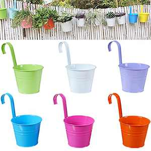 VEOLEY Hanging Flower Pots Metal Hanging Planters Iron Buckets Outdoor Hanging Plant Holders for Balcony Garden Railing Fence Planters with Detachable Hooks, 6Pcs Multicolor, 3.94 Inch
