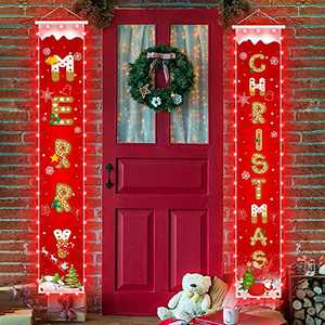 Christmas Decorations Banners with String Light - Cookie Pattern Merry Christmas Party Decor, Bright Red Xmas Hanging Banner for Outdoor/Indoor Home Front Door, 600D Fabric Porch Sign, Hemming Strip Lights